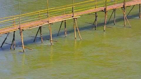 Bamboo Bridge over River near Luang Prabang. Laos Footage