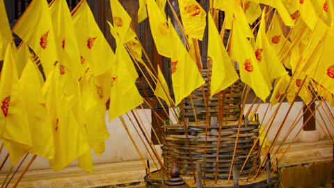 CHIANG MAI. THAILAND - CIRCA NOV 2013: Monks Arranging Clusters Of Yellow. Buddh stock footage