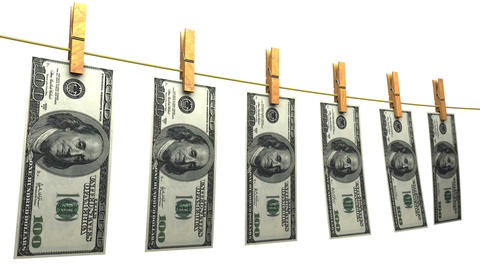 Drying Dollars (Loop + Matte) stock footage