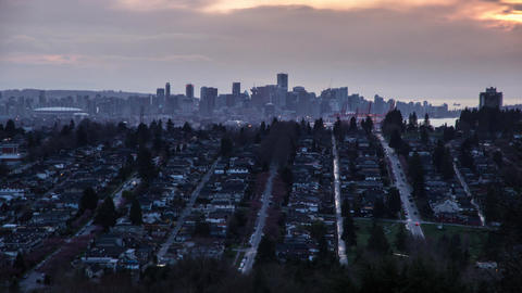 Time Lapse Of Downtown Vancouver At Dusk stock footage