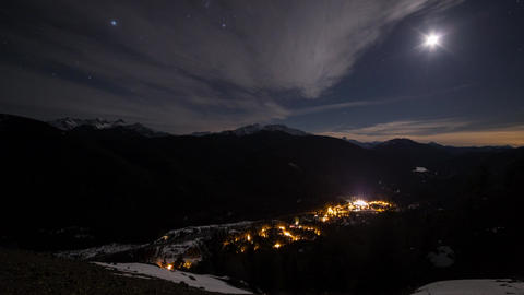Cloudscapes moonlit skies with mountain views Footage