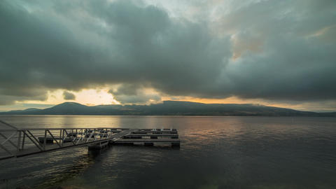 Cloudy Morning By The Dock stock footage