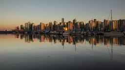 Sunset reflection on buildings Footage
