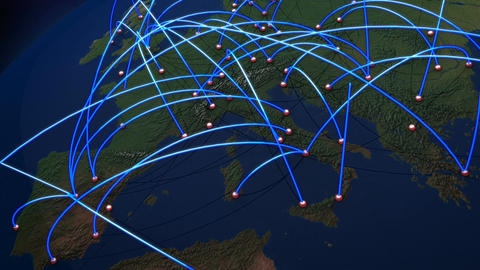 Business Flight Network Connections over Europe Zoom Out with Mattes 1 Animation