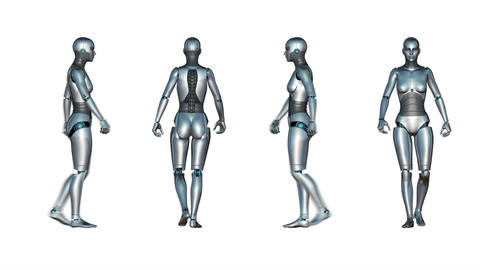 Female Robot Walk Loop stock footage