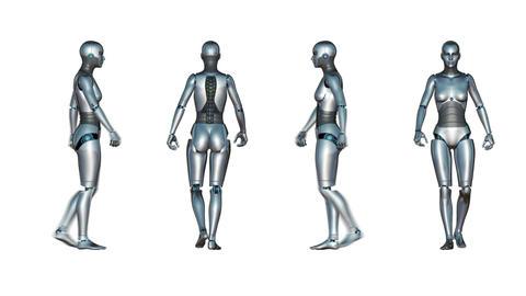Female Robot Walk Loop Animation