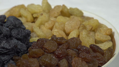 Three Kinds of Raisins in a Bowl HD Footage