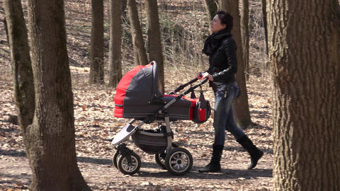Mother Walkin in Park with Newborn Child in Baby Carriage. 4K UltraHD, UHD Footage