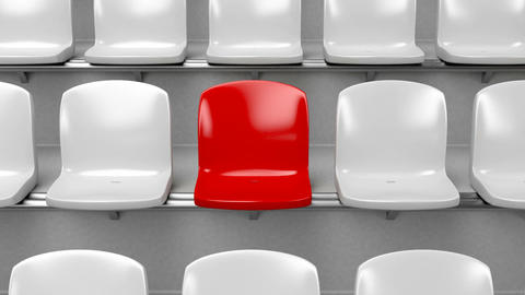 Unique Red Seat At The Stadium stock footage