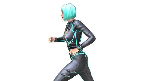 走る女性 CG動画
