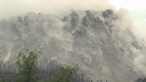 Earthquake Shakes Volcano Lava Dome Rare Footage stock footage