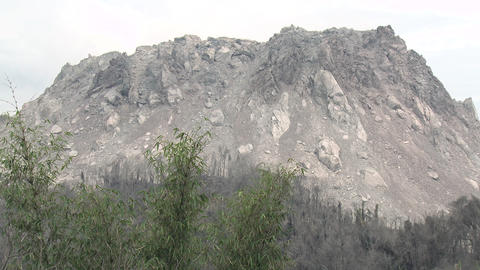 Large Lava Dome At Active Volcano In Indonesia Footage