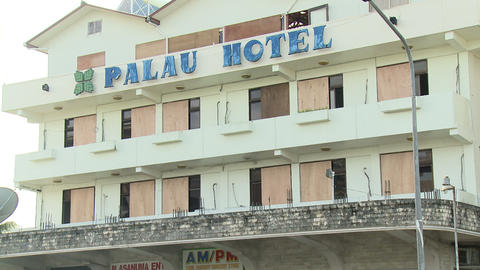 Hotel Boarded Up Prior To Hurricane Hit Footage