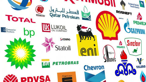 *REVERSE* Oil Brands Logo Loop Stock Video Footage