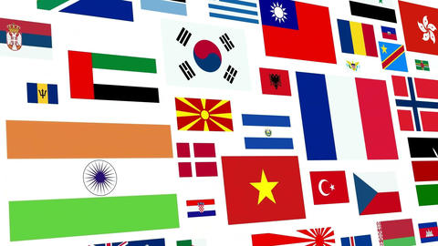 *REVERSE* World Flag Loop stock footage