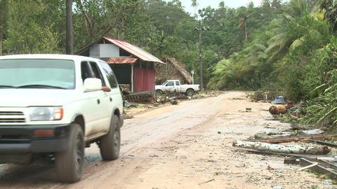 Hurricane Storm Surge Debris Covers Road Footage