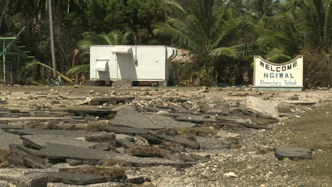 Hurricane Storm Surge Damage To Road Footage
