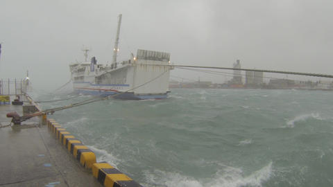 Rough Sea In Hurricane In Port Footage