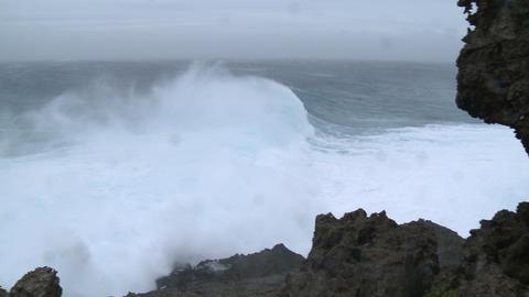 Huge Storm Waves Crash Onto Rocky Coastline Footage
