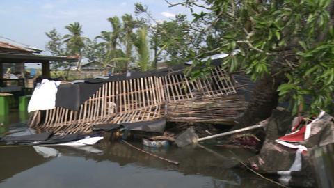 Typhoon Aftermath Flooding Of Houses Footage