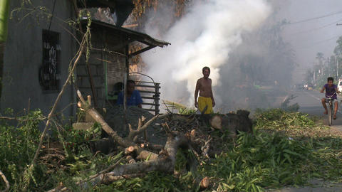 Typhoon Aftermath Burning Fires Footage