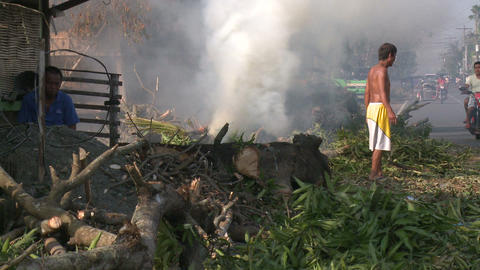 Typhoon Aftermath Burning Fires Footage