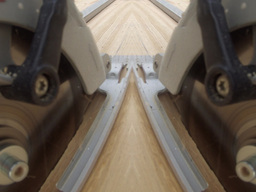 Mirrored Circular Saw Like As A Duet stock footage