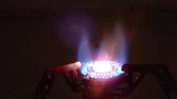 Camping stove burning, close up, loop Footage