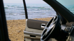 View To The Beach From The Car stock footage
