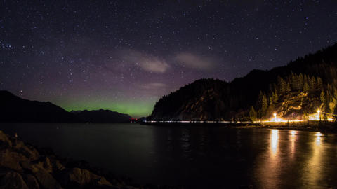 Aurora glow above Squamish, BC Footage
