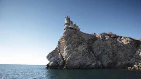 Swallow's Nest castle on the rock over Black sea Footage
