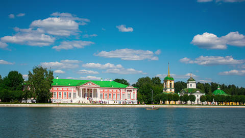 Vacationers go boating about Kuskovo palace Footage