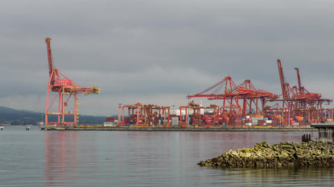 Shipping Terminal At Work With Sea Bus stock footage