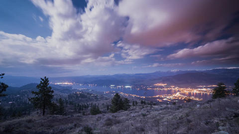 Time lapse of cloudy night at Osoyoos Footage