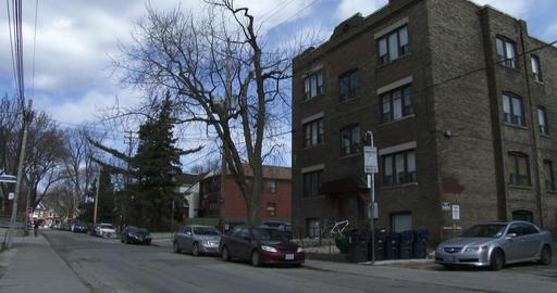 Establishing shot of small neighbourhood in Toronto Footage