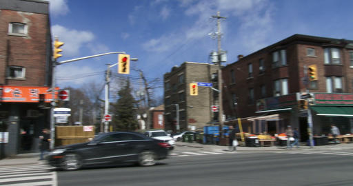 Establishing shot of Korea town neighbourhood in Toronto, Canada Footage