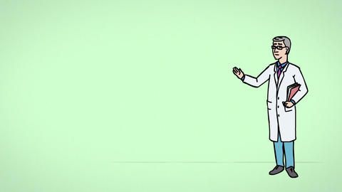 Animated Character Doctor Says, green background Animation