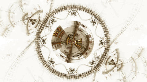 Mechanism, Ancient Metallic Cogwheel Animation