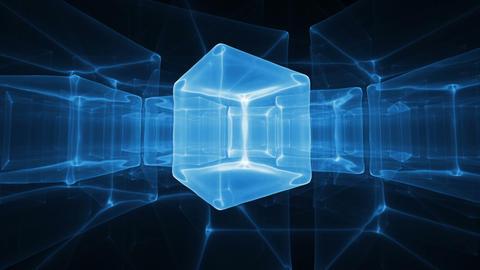 Neon Blue Ice Cubes Rotating On Black Background Animation