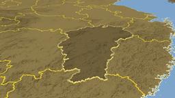 Jiangxi - China province extruded. Bumps Animation