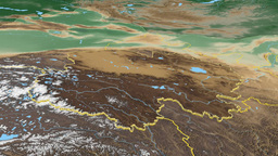Qinghai - China province extruded. Bumps shaded Animation