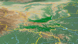 Shaanxi - China province extruded. Bumps shaded Animation