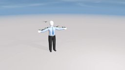 money landing on man Animation