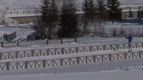 cross country skiing 02 Stock Video Footage