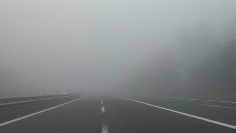 Highway fog 01 Stock Video Footage