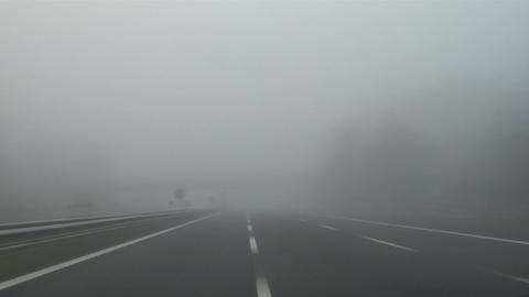 Highway fog 01 Stock Video Footage