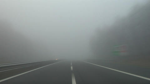 Highway fog 03 Stock Video Footage