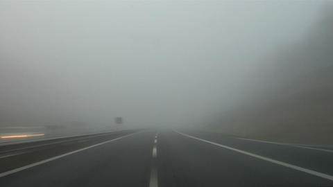 Highway fog 03 Stock Video Footage