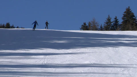 skier slow 03 Stock Video Footage