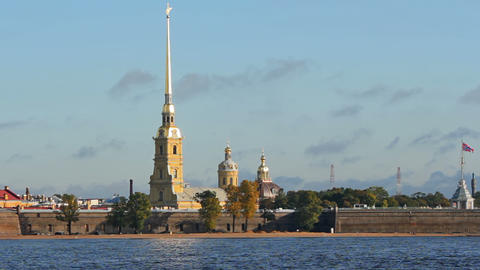 Peter and Paul Fortress in the morning Stock Video Footage